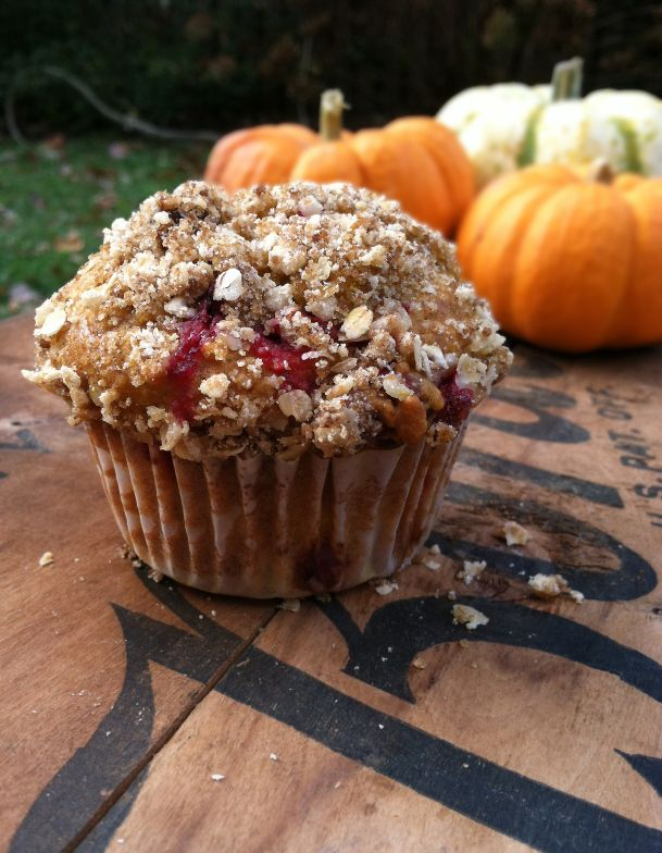 pumpkin-cranberry muffin - I do not like the tartness of the whole cranberries. Next time I will smoosh them first.