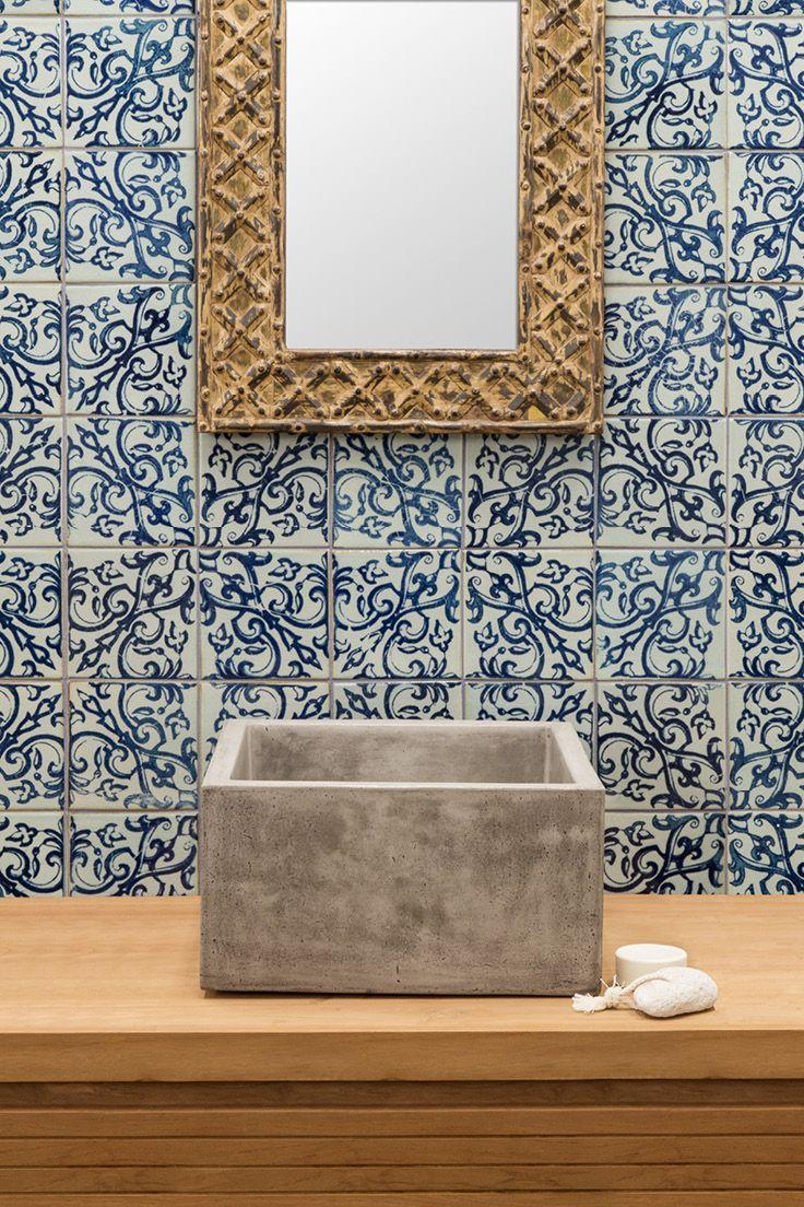Vicola Industrial Concrete Sink //  Tala Rustic Iron Mirror // Yokato Spout // Porto Tile // Buy at Schots Melbourne, Australia