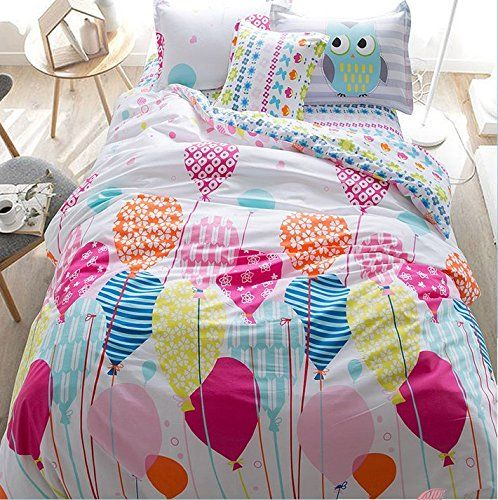 LELVA Cartoon Princess in Bed with a Cotton Jacket, Kids Bedding Girls, Children's Duvet Cover Set, Bedding for Girls, Twin Full Size 4pcs