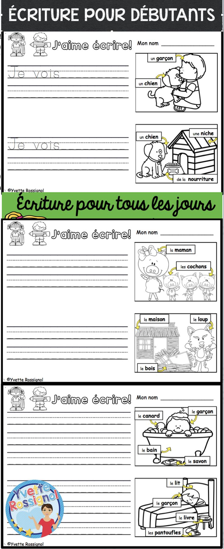 french emergent writing prompts criture pour tous les jours french immersion worksheets and. Black Bedroom Furniture Sets. Home Design Ideas