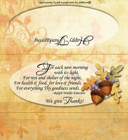 Free Printable Thanksgiving Blessing Candy Bar Wrapper, ready to personalize with your  message.