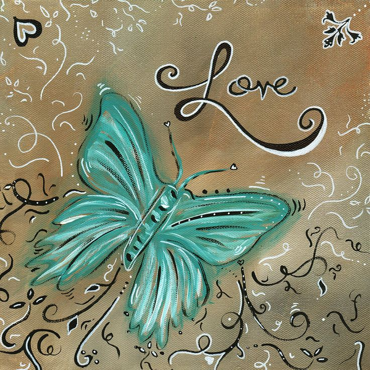 Live And Love Butterfly By Madart Painting  - Live And Love Butterfly By Madart Fine Art Print