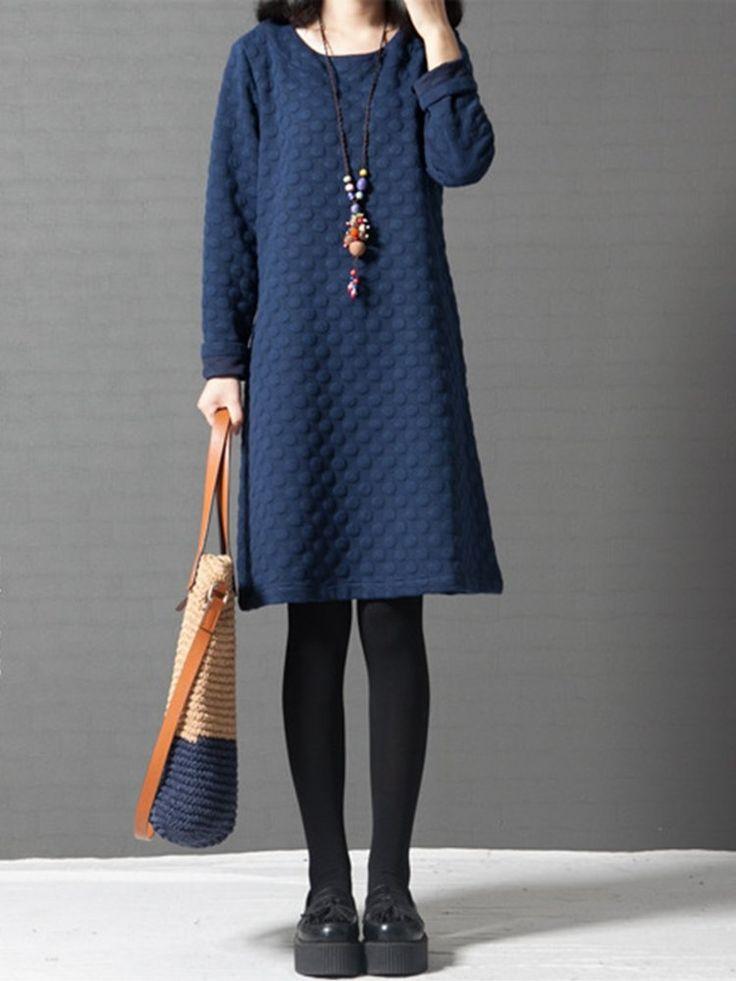 Women Vintage Polka Dots Long Sleeve Pocket Dresses