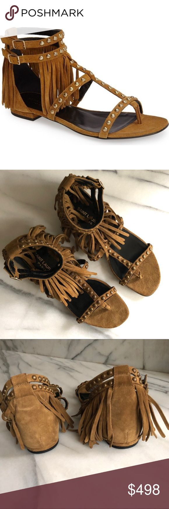 """Saint Laurent Nu Pieds Studded Fringe Sandal * Saint Laurent suede sandal with golden studding. * 0.5"""" flat heel. * Thong strap. * Caged T-strap vamp. * Double-buckle ankle straps. * Fringe hangs from upper strap. * Leather lining and sole. * Made in Italy. * Never worn. NWOT. Does not come with box or dust bag.  * No trades. Saint Laurent Shoes Sandals"""