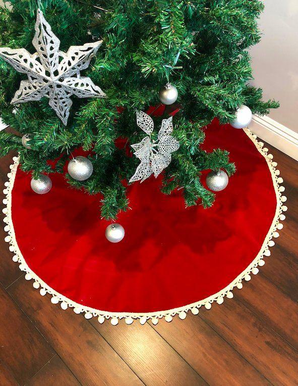 Pom Pom Velvet Tree Skirt Christmas Tree Skirt Tree Skirt Etsy In 2020 Burlap Christmas Tree Christmas Decorations Christmas Tree Skirt