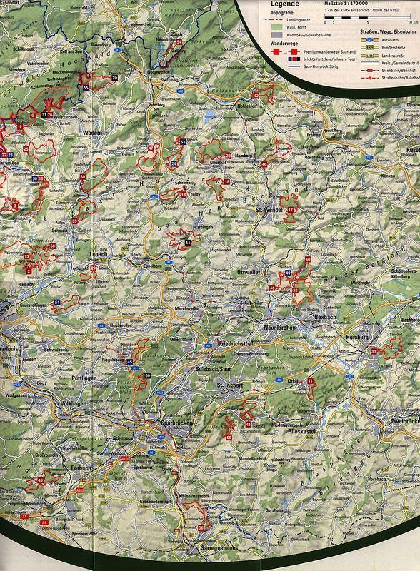Wandern, Premiumwandern;  Übersichtskarte mit 60 Touren im Saarland 2015, map, karte, plan, Germany | tourism travel brochure | by worldtravellib World Travel library