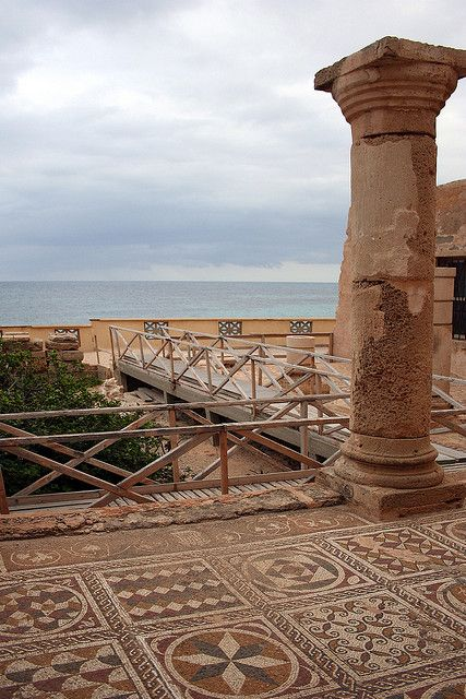 Villa (Silin) Sileen, Libya.    Unprotected Roman Mosaic on the external terrace less than 20 feet from the Mediterranean Sea.