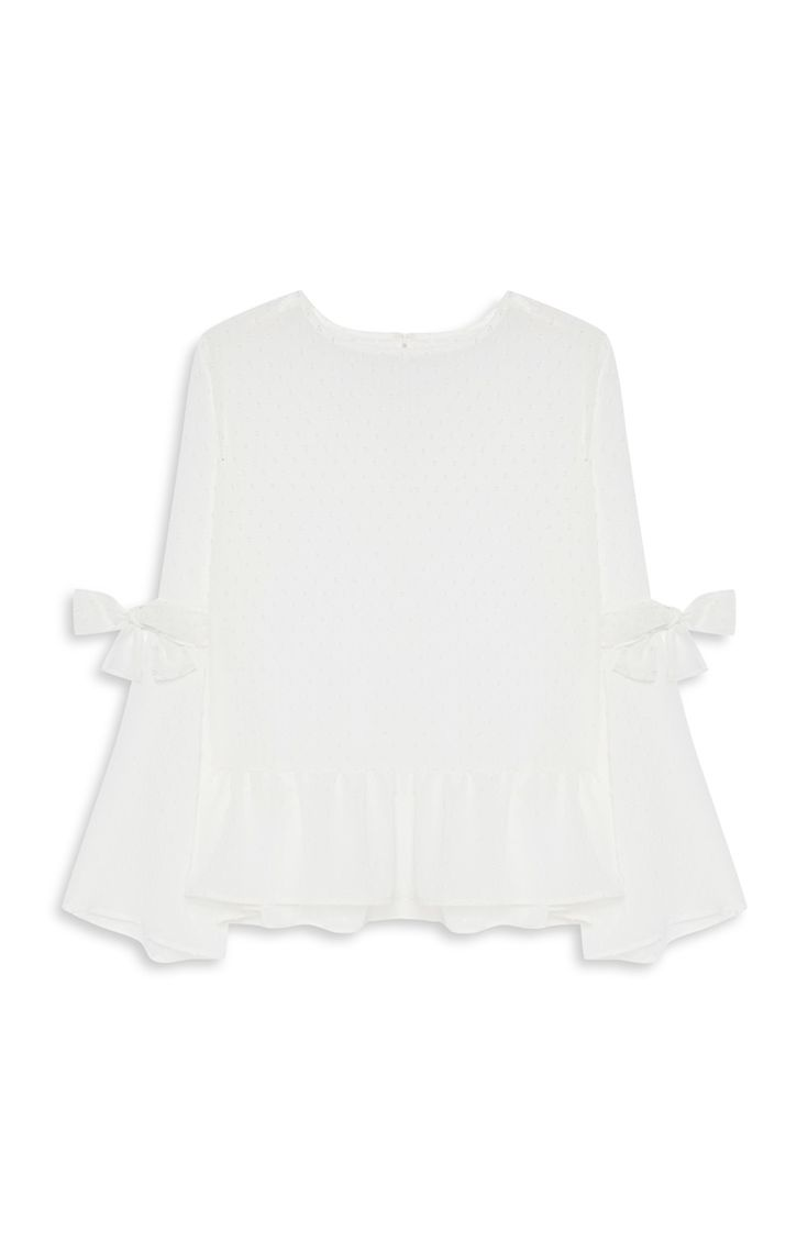 Primark - Witte top met strikje en wijde mouwen