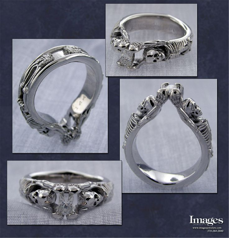 Our Famous Skeleton Engagement Ring with a Moissanite Center Made in Sterling Silver. #imagesjewelers #customjewelry #skeletonring #skeleton #ring