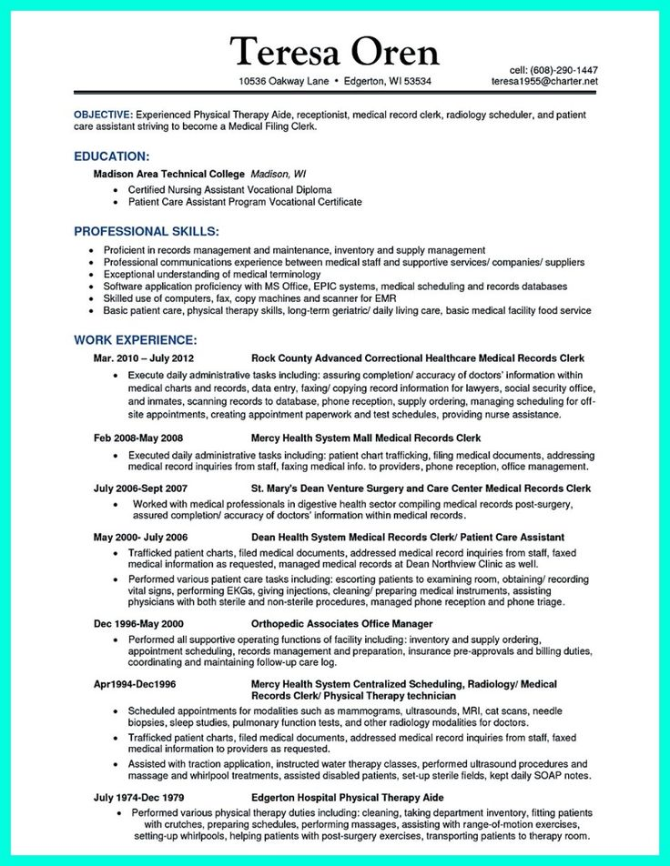 40 best letter images on Pinterest Cover letter sample, Resume - medical records specialist sample resume