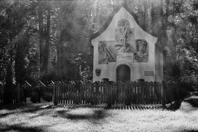 #war-cemetery #forest #chapel #Tyrol //  bwstock.photography - photo | free download black and white photos
