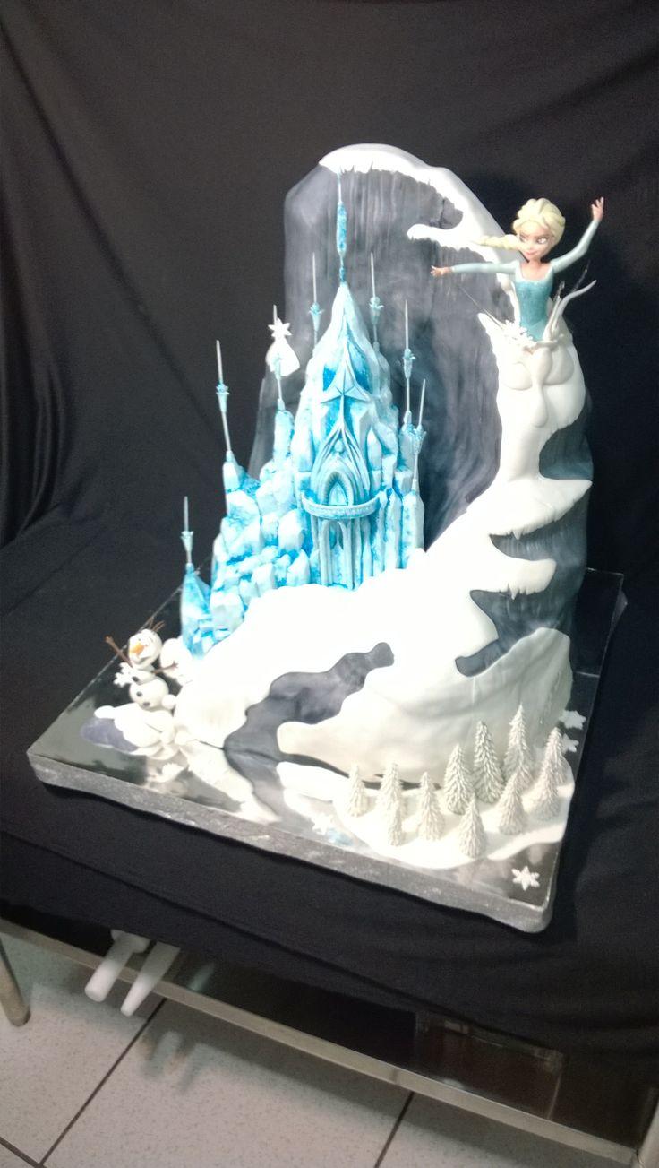 Pastel De Frozen Monta 209 A Castillo Princesa Elsa Y Olaf