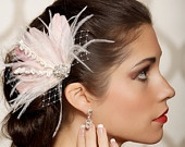 Ivory Blush Bridal Head Piece Feather Fascinator Flower Stamen Rhinestone Wedding Hair Piece Russian Veiling - Made to Order - IDA