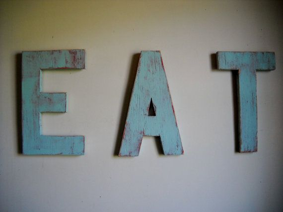 Vintage inspired EAT sign kitsch distressed shabby chic kitchen wood sign custom handmade on Etsy, $35.00