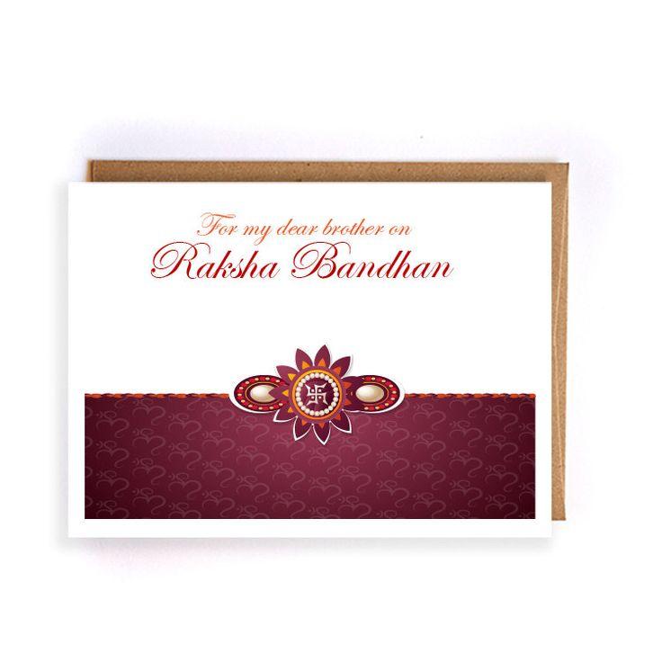 Rakhi card, raksha bandhan greeting cards, cards for brother, indian greeting cards, hindu festivals by artRuss on Etsy