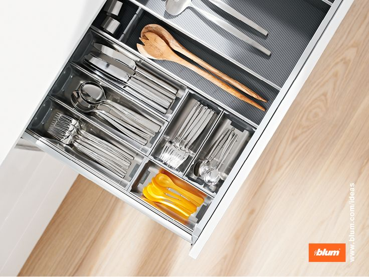 Beautifully organized storage of flatware with ORGA-LINE inner diving system. The stainless steel trays can even be cleaned in the dishwasher. More on www.blum.com/ideas