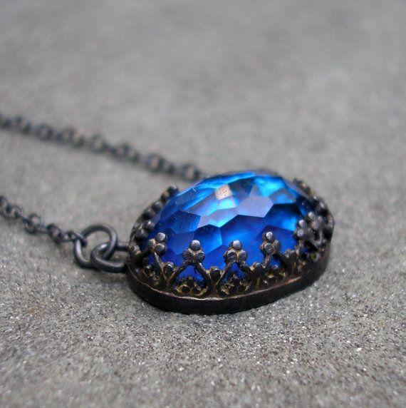 Blue Topaz Necklace  Sterling Silver Filigree Bezel by lsueszabo