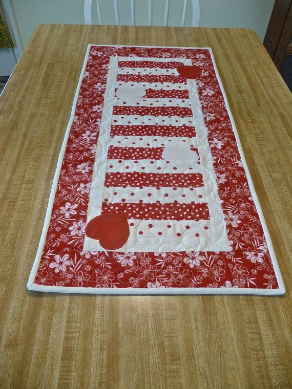 Valentine Table Runner Or Wall Hanging By Covequilter On Etsy, $37.00