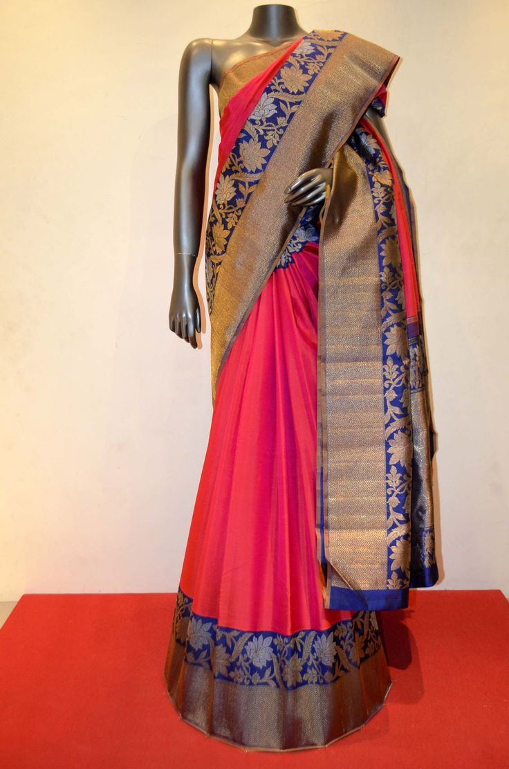 Strawberry Pink Exclsuive Kanjeevaram Silk Saree