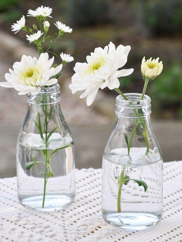 25 best ideas about mini milk bottles on pinterest diy for Flowers in glass bottles