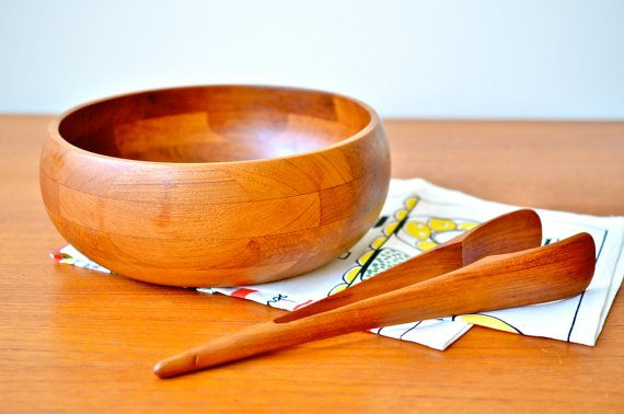 Rare ESA Denmark Teak Salad Bowl and Tongs Set