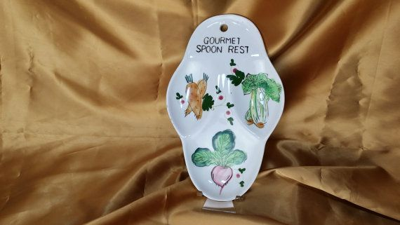 Gourmet Spoon Rest with Hand Painted Vegetables - midcentury funky fun - radish carrot celery