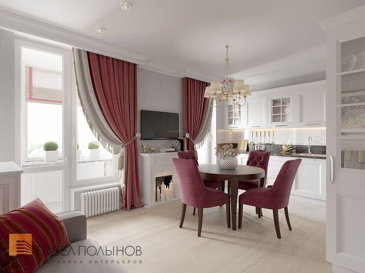 Фото: Кухня-гостиная - Интерьер квартиры в классическом стиле в ЖК «Времена года», 61 кв.м.