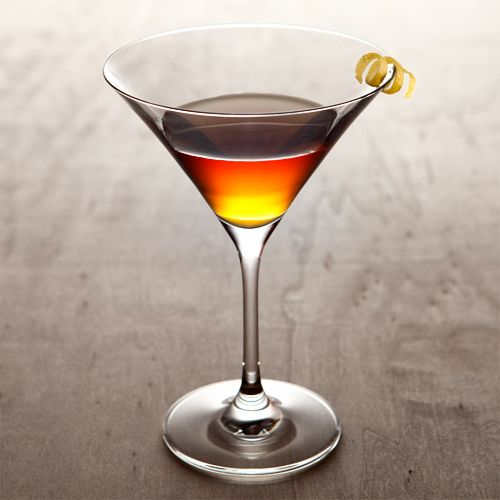 1.5 oz Dubonnet Rouge 1.5 oz Gin 1 dash Angostura Bitters garnish:  Lemon twist glass:  Martini