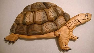 The turtle was made using the beatifull and natural walnut wood and borovi pine. It contains pirograph technic, too. Intarsia 3 D style as seen in