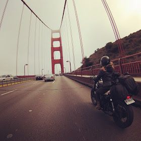 Riding across the Golden Gate Bridge, San Francisco. Our motorcycle trip down the Pacific Coast Highway 1 from Vancouver on my Triumph Bonneville t100