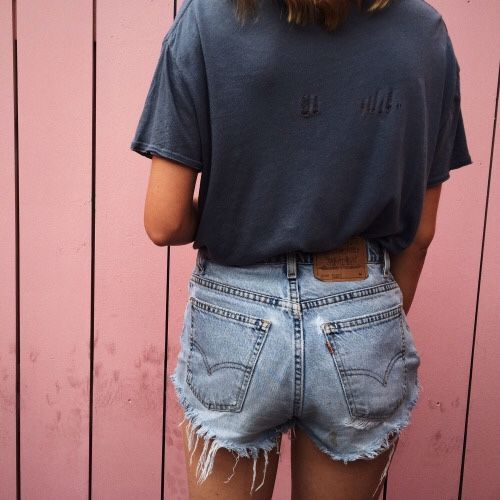 Navy tee and denim cut-offs- summer fashion- beach ready.