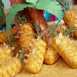 Island Cakes Enhance vanilla snack cakes with pineapple preserves, then decorate for an island-theme snack.