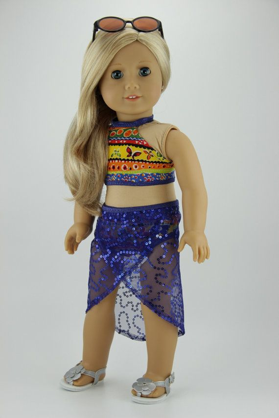 """American Girl doll clothes - Tropical 2 piece swimsuit with cover up skirt (fits 18"""" doll) (435tropical)"""