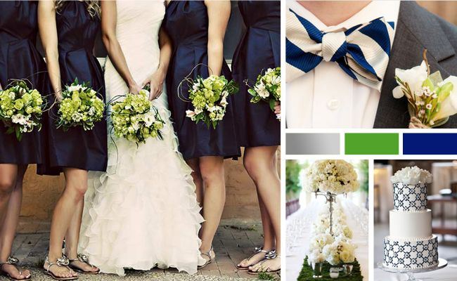 navy, gray, pale green wedding. love how the navy blue and pale green flowers work with the white.