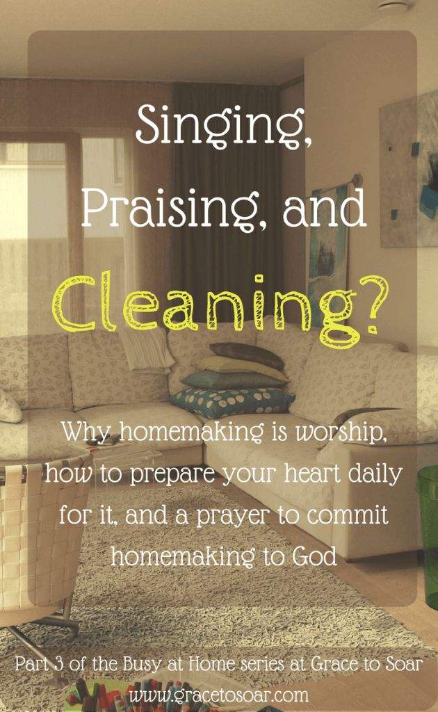 Singing, Praising, and Cleaning? Homemaking as Worship {Part 3 of the Busy at Home Series}:http://gracetosoar.com/singing-praising-and-cleaning/