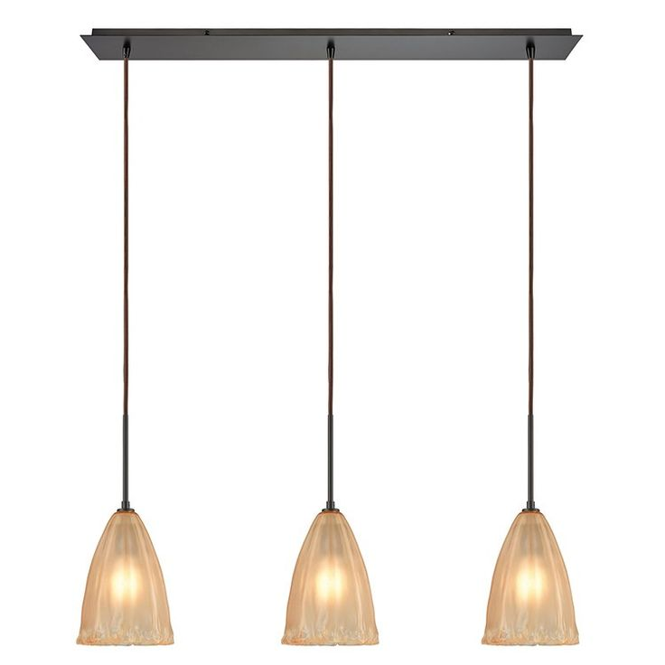 Bay Isle Home Mejorado 3 Light Kitchen Island Linear Pendant Glass Pendant Light Pendant Lighting Elk Lighting