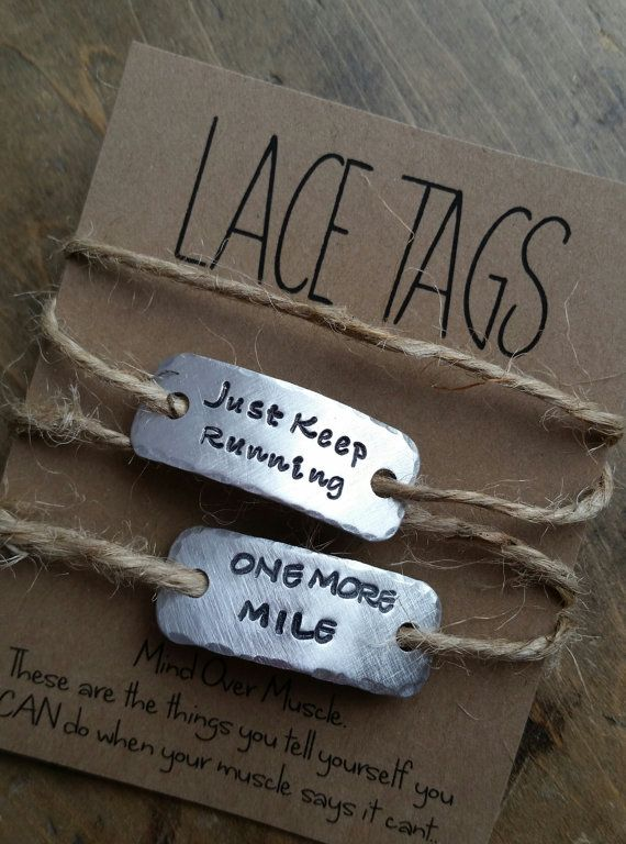 personalized running shoe tags {SINGLE or SETofTWO}  .  {lace tags} running shoe tags . runners gift for runner .  Marathon gift shoe charm
