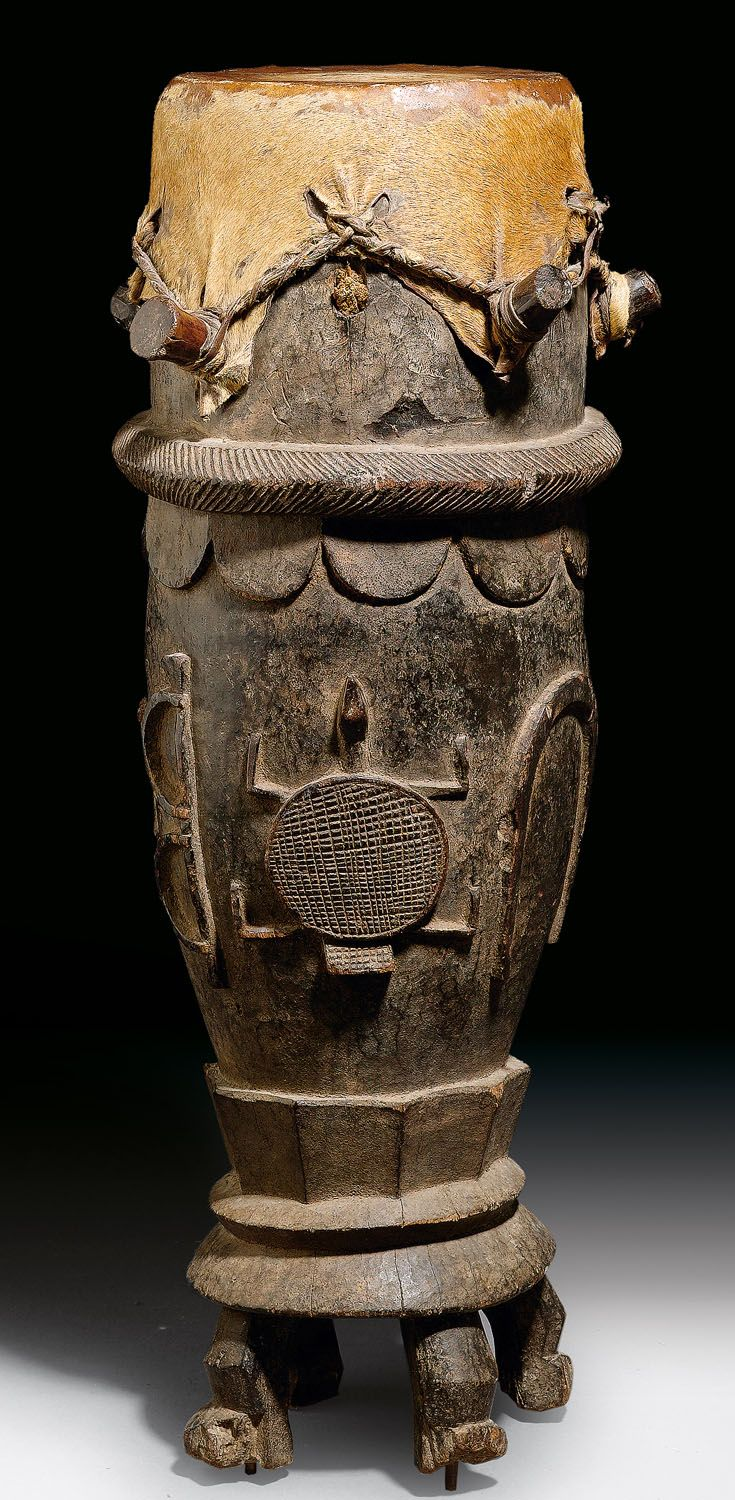 Africa | Drum from the Senufo people of the Ivory Coast | Wood and hide