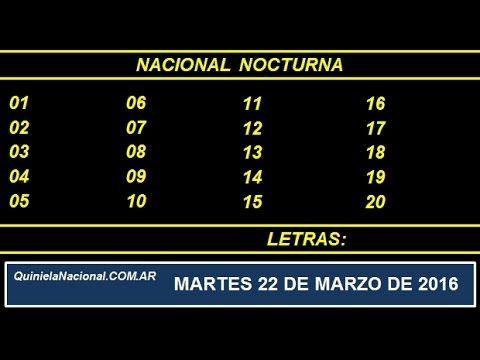 Quiniela Nacional Nocturna Martes 22 de Marzo de 2016. http://www.quinielanacional.com.ar