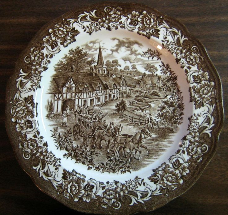 Chocolate Brown Toile Transferware England Horses Vintage Plate & 295 best Home: Brown Toile Transferware \u0026 More images on Pinterest ...
