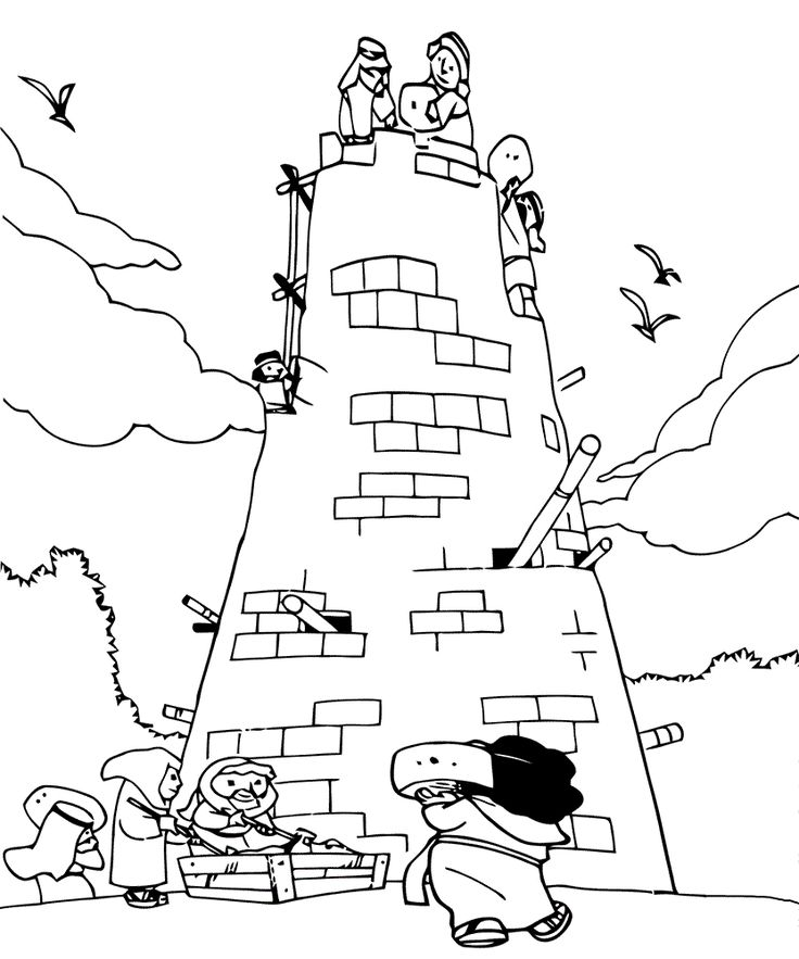 Tower of Babel Coloring Page for Sunday School Educative