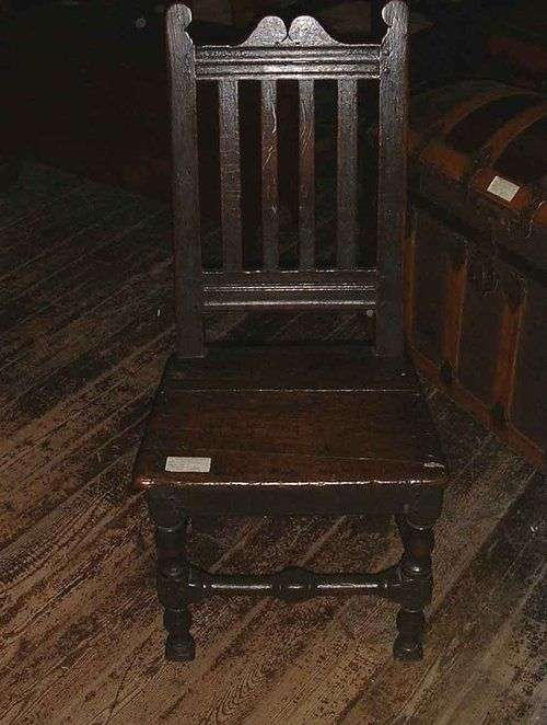English 17th century oak backstool .