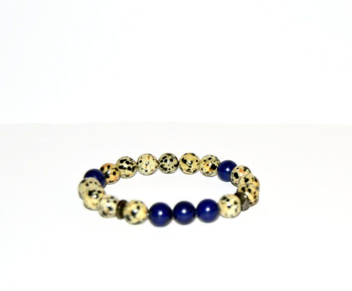 Dalmatian Jasper and Lapis Lazuli beaded bracelet, mens bracelet, unisex jewelry #Beaded