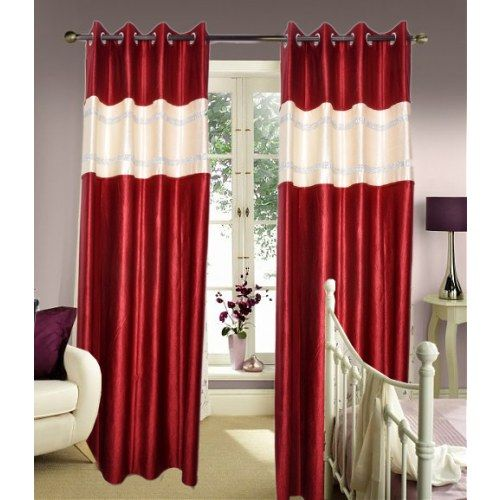 Beautiful Diamond Designer Maroon Extra Long Curtain (9x4 Ft)