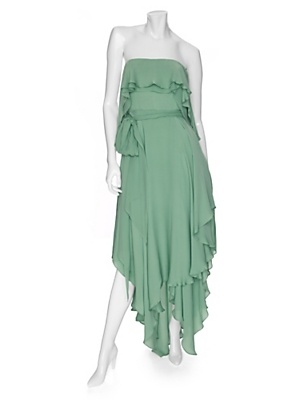 Halston Heritage  Strapless Ruffled Maxi Dress