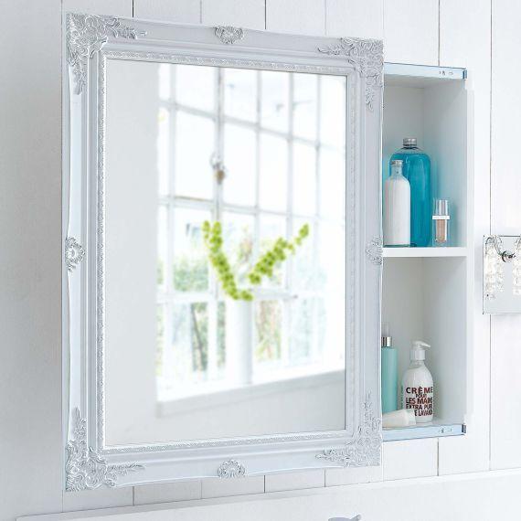 Spiegelschrank Schiebetur Zwei Innenfacher Romantik Look Mdf Spiegelschrank Badezimmer Spiegelschrank Schiebetur