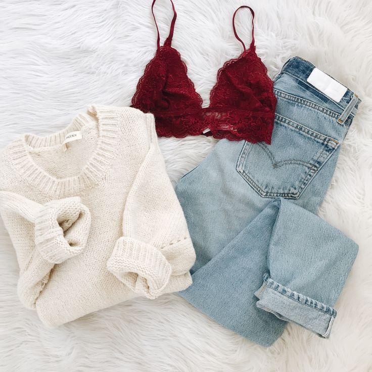 Shop New Arrivals at Frankie-Phoenix.com ✨ pictured: Siena Bralette, Lilia Sweater, & Re/Done jeans ✨
