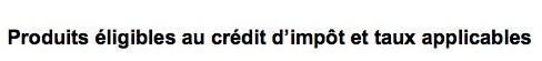 Produits éligibles au crédit d'impôt et taux applicables - http://www.developpement-durable.gouv.fr/