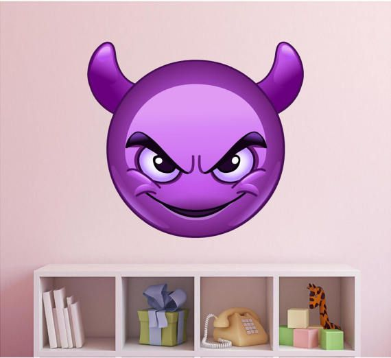 Add this cute Purple Devil Horns Emoji Vinyl Wall Decal to any boy or girls bedroom. Just peel & stick - goes up in seconds!  Devil Emoji Wall Decal Emoji Emoji Party Emoji Birthday Emoji Movie $19.99 https://www.etsy.com/listing/479904399/devil-emoji-wall-decal-emoji-emoji-party?ref=shop_home_active_5