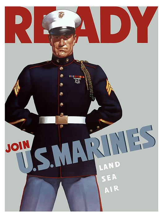 """This Marine Corps recruiting poster from World War II features a sergeant, wearing his dress blues. It declares, """"READY, Join U.S. Marines, Land Sea Air""""."""